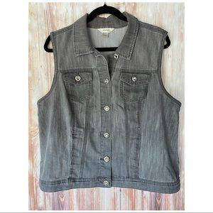 CJ Banks- Gray Denim Button Vest